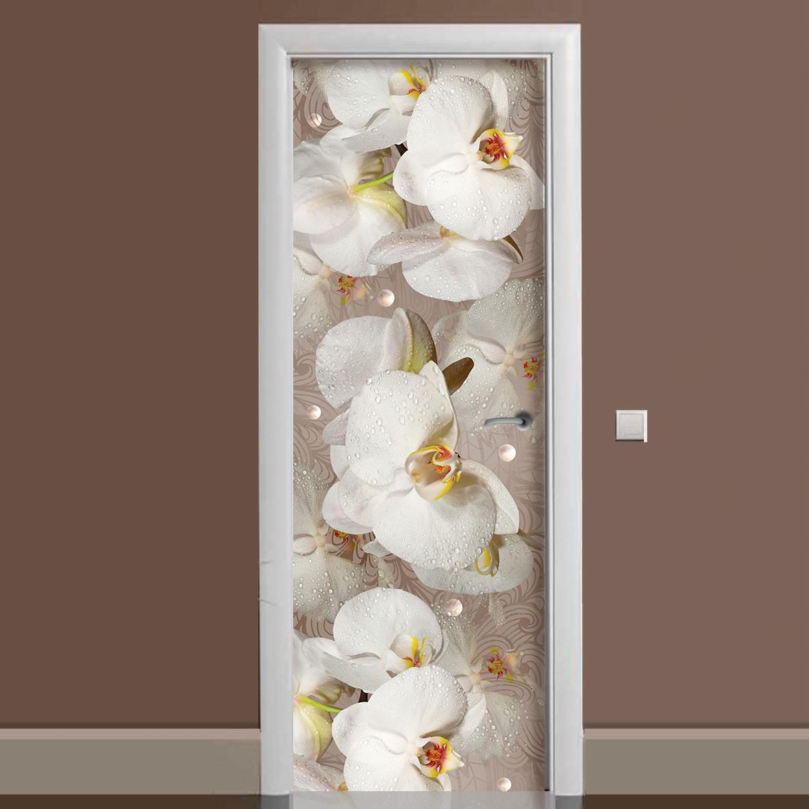 Виниловая наклейка на дверь Орхидея и капли росы ламинированная двойная пленка фотопечать цветы белые