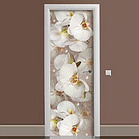 Вінілова наклейка на двері Орхідея і краплі роси ламінована подвійна (плівка фотодрук квіти білі)