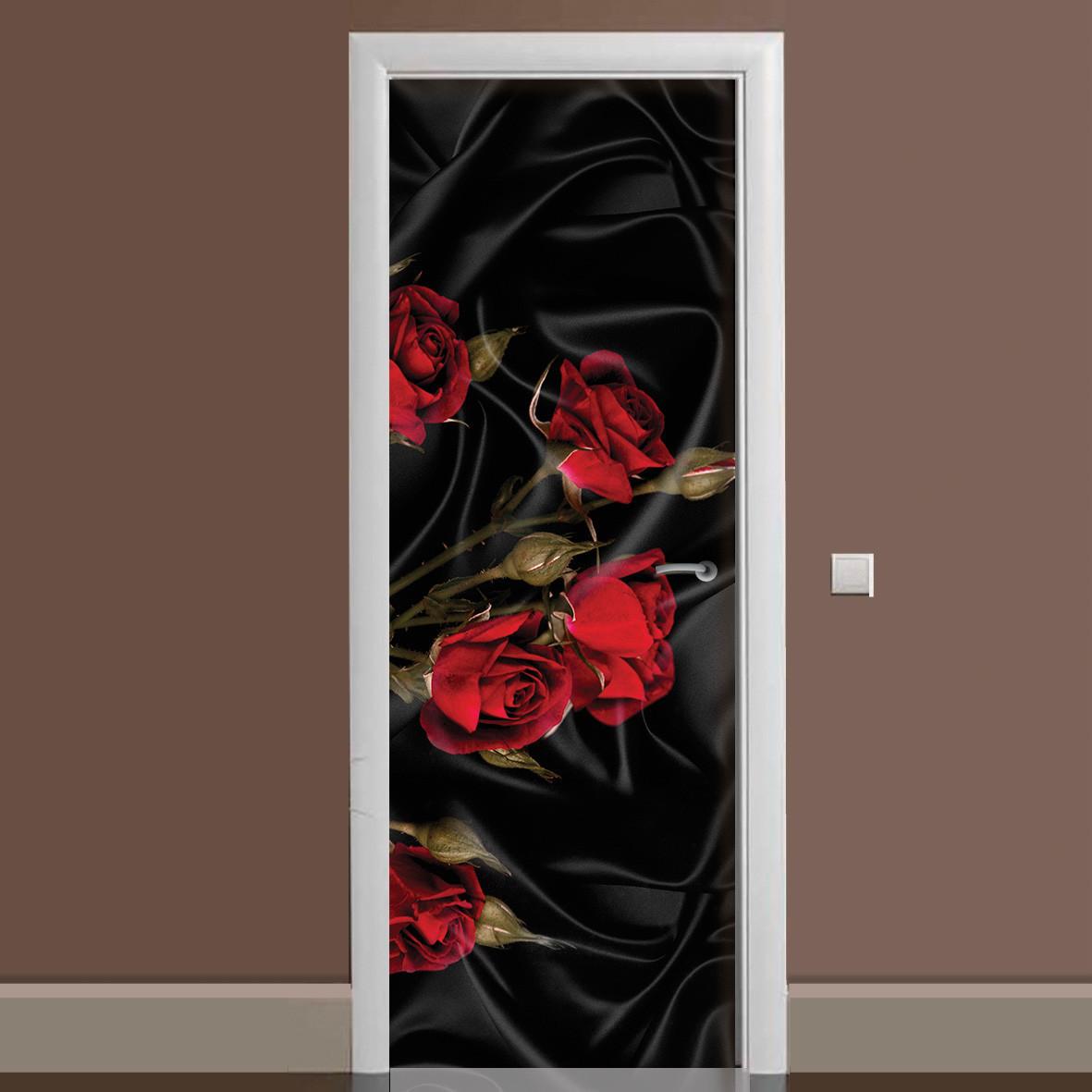 Виниловая наклейка на дверь Роза Tassin ламинированная двойная пленка цветы красные розы черный шелк
