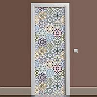 Виниловая наклейка на дверь Орнамент 03 ламинированная двойная (пленка под плитку калейдоскоп абстракция