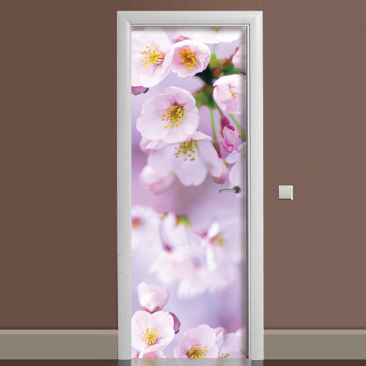 Виниловая наклейка на дверь Цветы яблони ламинированная двойная (пленка розовые цветы весна макро вишни)