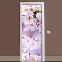 Вінілова наклейка на двері Квіти яблуні ламінована подвійна плівка рожеві квіти весна макро вишні, фото 1