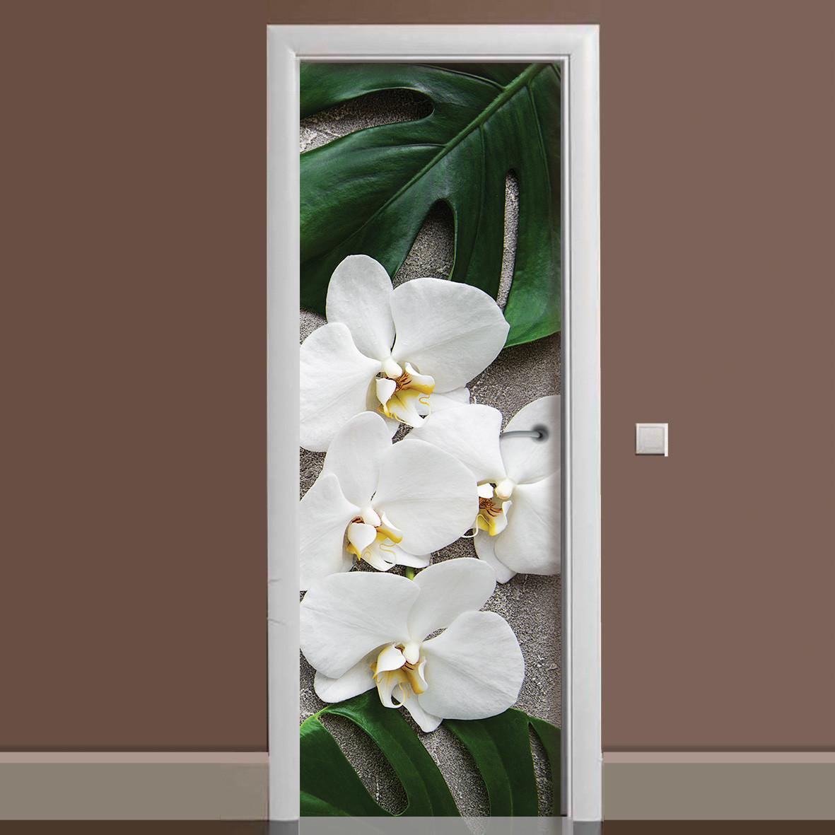 Вінілова наклейка на двері Орхідея Монстера ламінована подвійна плівка фотодрук квіти білі