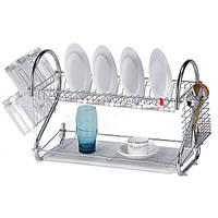Сушилка для посуды настольная с поддоном сушка 2 яруса ABX BN-004 41x12x26 см Серебристая