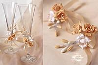"""Свадебные украшения на бокалы """"Фрезии""""(съемные цена за1 шт, без бокалов)"""