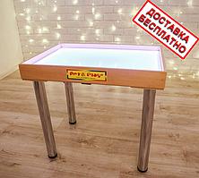 Стол светодиодный 700×500 для рисования песком Ольха белый светодиод. А12