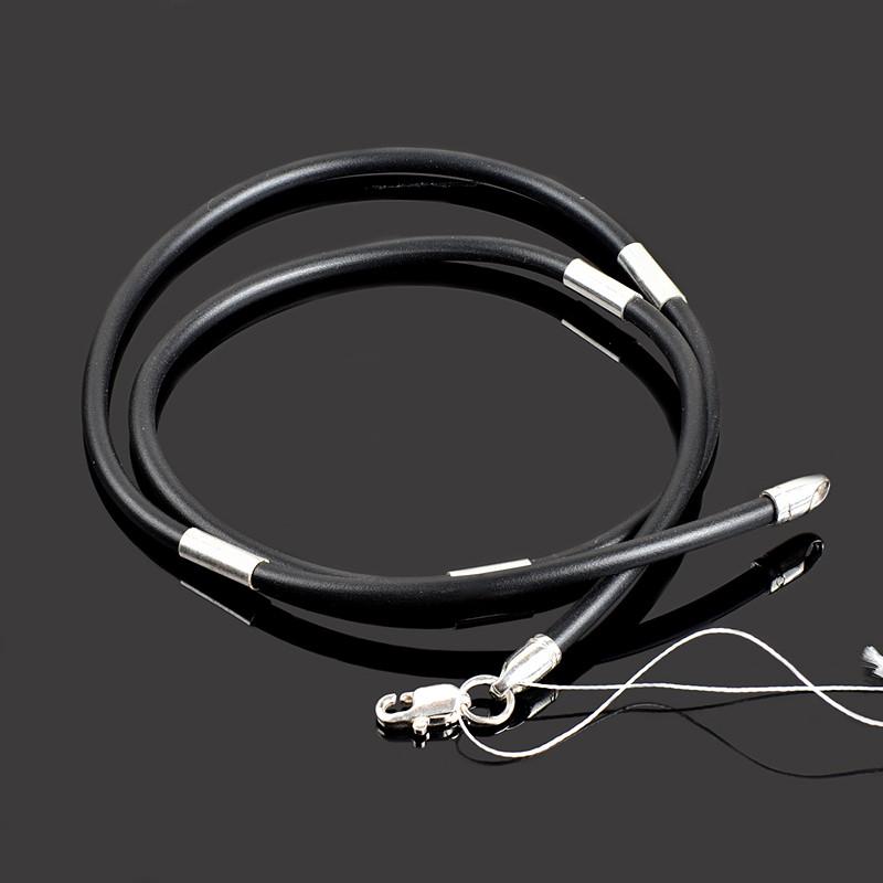 Каучуковый шнурок на шею с серебряными вставками 4014 Премиум