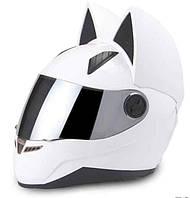 Мото Кото шлем с ушками женский MS-1650 Tanked Racing (ABS, размер М-55-56, белый)