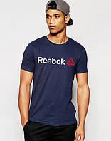 Футболка чоловіча Reebok Рібок темно-синя (великий принт) (РЕПЛІКА), фото 1