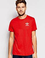Футболка молодіжна Adidas Адідас червона (маленький принт) (РЕПЛІКА), фото 1