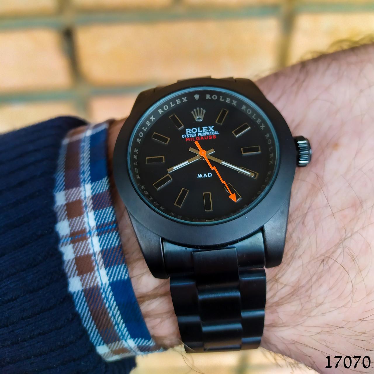 Часы мужские в стиле Rolex. Мужские наручные часы черные. Часы с черным циферблатом Годинник чоловічий
