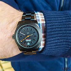 Часы мужские в стиле Rolex. Мужские наручные часы черные. Часы с черным циферблатом Годинник чоловічий, фото 2