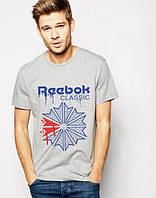 Футболка чоловіча Reebok Рібок сіра (великий принт) (РЕПЛИКА), фото 1