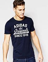 Футболка молодежная Adidas Originals 1949 Адидас темно-синяя (большой принт) (РЕПЛИКА), фото 1