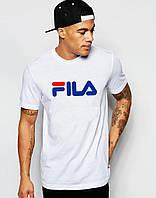 Модная мужская футболка белая Fila Фила (большой принт) (РЕПЛИКА), фото 1
