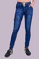 Джинсы подростковые с манжетом на резинке и накладным карманом Золото 452-2 M. Размер 40-42