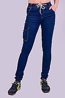 Джинсы подростковые с манжетом на резинке и накладным карманом Золото 452-1 S. Размер 38-40