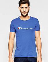 Модная синяя футболка Champion Чемпион (большой принт) (РЕПЛИКА), фото 1