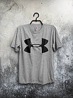 Сіра футболка Under Armour Андер Армор (великий принт) (РЕПЛІКА)