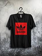 Молодіжна футболка Adidas Адідас чорна (великий принт) (РЕПЛІКА), фото 1