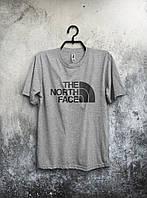 Мужская футболка The North Face Зе Норт Фэйс серая (большой принт) (РЕПЛИКА)