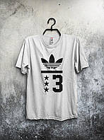 Приталенная футболка мужская Adidas Адидас белая (большой принт) (РЕПЛИКА)