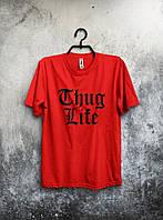 Якісна футболка Thug Life Життя Бандита червона (великий принт) (РЕПЛІКА), фото 1