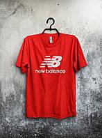 Чоловіча футболка New Balance Нью Бэланс червона (великий принт) (РЕПЛІКА), фото 1