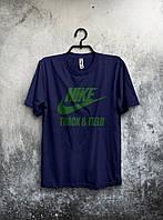 Футболка для парня Nike Найк темно-синяя (большой принт) (РЕПЛИКА), фото 1