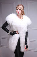 Меховой жилет жилетка из белой полярной лисы  White fox fur vest, length=77 cm