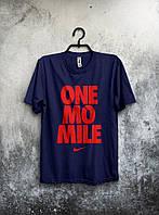 Футболка чоловіча Nike One Mo Mile Найк темно-синя (великий принт) (РЕПЛІКА), фото 1