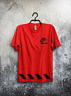 Футболка красная трикотажная Nike Найк (большой  принт) (РЕПЛИКА), фото 1