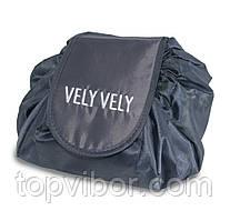 🔝 Большая дорожная женская раскладная косметичка -мешок Vely Vely Magic Travel Pouch Черная   🎁%🚚