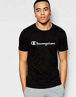Модная черная футболка повседневная Champion Чемпион (большой принт) (РЕПЛИКА), фото 1