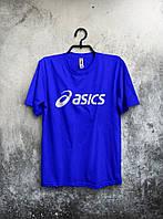 Мужская футболка Asics Асикс синяя (большой принт) (РЕПЛИКА), фото 1