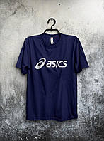 Качественная футболка Asics Асикс мужская темно синяя (большой принт) (РЕПЛИКА), фото 1