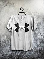 Мужская белая футболка Under Armour Андер Армор  (большой принт) (РЕПЛИКА)