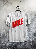 Мужская футболка Nike, мужская футболка Найк, спортивная, брендовая, хлопок, белая реплика, фото 1