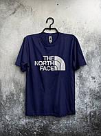 Футболка  темно синяя The North Face Зе Норт Фэйс (большой принт) (РЕПЛИКА)
