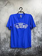 Футболка молодежная Vans Off The Wall синяя (большой принт) (РЕПЛИКА), фото 1