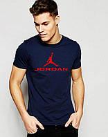 Чоловіча футболка темно синя Jordan Джордан (великий принт) (РЕПЛІКА), фото 1