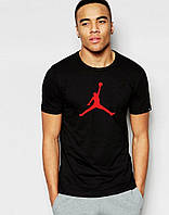Мужская  футболка спортивная повседневная  черная Jordan Джордан из хлопка (большой принт) (РЕПЛИКА), фото 1