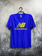 Синя футболка New Balance Нью Бэланс (великий принт) (РЕПЛІКА), фото 1