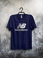 Трикотажная футболка New Balance Нью Бэланс темно синяя (большой принт) (РЕПЛИКА), фото 1
