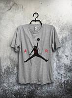 Сіра чоловіча футболка Jordan Джордан (великий принт) (РЕПЛІКА), фото 1