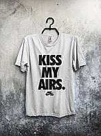 Модная футболка летняя Nike Kiss My Airs Найк белая (большой принт) (РЕПЛИКА), фото 1