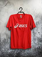 Красная футболка Asics Асикс мужская (большой принт) (РЕПЛИКА), фото 1