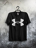 Стильна футболка Under Armour Андер Армор чорна (великий принт) (РЕПЛІКА)
