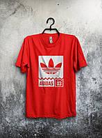 Футболка молодіжна Adidas Адідас червона (великий принт) (РЕПЛІКА), фото 1