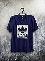 Футболка молодіжна Adidas Адідас темно-синя (великий принт) (РЕПЛІКА), фото 1